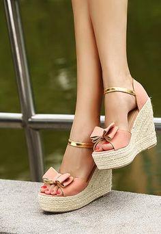Pink n Gold Bows Platform Sandals