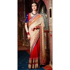 Red,Beige Color Saree at Rs.7,925.33  #fashion #latesttrend #indianclothes #sareesonline #sanginionline #mumbai #musthave #getit