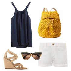 Park For a day in the park, be prepared to bike around and sit on a picnic blanket. A pair of white denim shorts and a silk tank are relaxed yet polished. Finish with wedge sandals, studded sunglasses, and a bright yellow crocheted backpack.