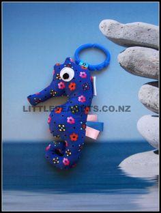 Seahorse Squeaker - Floral Blue | Felt
