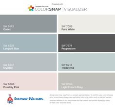 I found these colors with ColorSnap® Visualizer for iPhone by Sherwin-Williams: Perfect Greige (SW Tricorn Black (SW Marshmallow (SW Poised Taupe (SW Repose Gray (SW Urbane Bronze (SW Colonnade Gray (SW Agreeable Gray (SW Exterior Paint Colors, Exterior House Colors, Paint Colors For Home, Paint Colours, Sand Color Paint, Wall Colors, Concrete Paint Colors, Foyer Colors, Fixer Upper Paint Colors