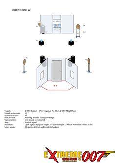 Stage 23 / Range 22: 2 IPSC Popper, 4 IPSC Targets, 2 No-Shoot, 2 IPSC Metal Plates