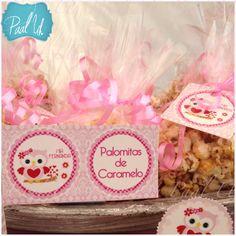 Paal Uh. Mesa de Postres & Snacks. Dulces. Rosa. Búho. Niña. Baby Shower. Pink.   Candybar. Palomitas de caramelo. Corn pop