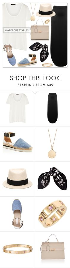 """""""The White T-Shirt"""" by stellaasteria ❤ liked on Polyvore featuring The Row, Code Le Vush, See by Chloé, Stella & Dot, Maison Michel, Hermès, Cartier and Balenciaga"""