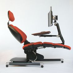 Futuristic Desk and Chair Station is Fully Adjustable For Working While Lying Down - My Modern Met