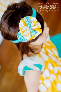 Yellow and aqua ruffle and rosette chevron headband. Birdie Baby Boutique.