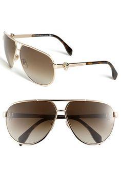 797579c08c Alexander McQueen 65mm Skull Temple Metal Aviator Sunglasses