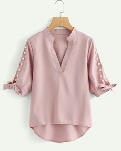 e548bb7fe0cf Shop Plus V Neckline Pearl Beaded Dip Hem Blouse online. SHEIN offers Plus  V Neckline Pearl Beaded Dip Hem Blouse   more to fit your fashionable  needs. Asma ...