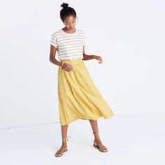 via Madewell - Side button skirt