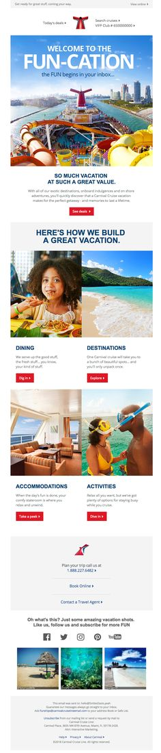@carnivalcruise sent this email with the subject line: 🛳 Smiles Davis, the fun's just begun! - Read about this email and find more welcome emails at ReallyGoodEmails.com #travel #leisure #cruise #welcome