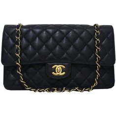 deb900b0b73 Chanel Black Quilted Caviar Classic Medium Double Flap Bag. Rent this for   150 - Same