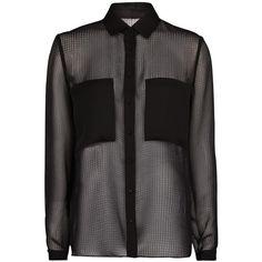 Mango Pocket Textured Chiffon Blouse , Black ($21) ❤ liked on Polyvore featuring tops, blouses, shirts, blusas, black, black sheer shirt, black button up shirt, shirts & blouses, black shirt and long sleeve blouse