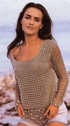 Croche com Any Lucy: Blusa Diagrama ༺✿ƬⱤღ https://www.pinterest.com/teretegui/✿༻