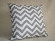 Gray Chevron Striped Pillows
