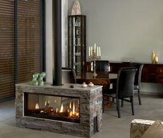 Open Fireplace, Stove Fireplace, Simple Fireplace, Gas Fireplaces, Contemporary Fireplace Designs, Contemporary Kitchens, Contemporary Bedroom, Freestanding Fireplace, Foyer Au Gaz