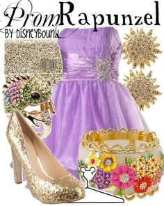 Rapunzel inspired prom outfit by DisneyBound