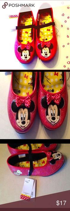 NWT Minnie Ballet Flats Red sparkly Minnie Mouse ballet flats brand new size 12 Disney Shoes