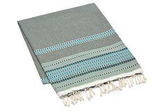 "Multi Stripe Fouta Towel, Light Green Made of:cottonSize:38"" x 78""Color:green/multi on OneKingsLane.com"