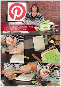 """INSPIRED BY PINTEREST: MORE USES FOR CHIPART / LEATHER STAMPS Join Lori Allred (allreddesign.net) as she shows you more ways to work with """"leather"""". But in the episode she combines the cool leather stamping techniques you love with her embossing folders and machine to get some very unique textures on the leather. #mycraftchannel #leatherstamps"""