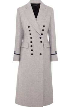 Gray wool-blend Button fastenings through double-breasted front 90% wool, 10% polyamide; lining: 100% viscose Dry clean