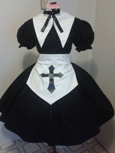 Gothic Lolita Nun Dress Apron with Cross and Collar by MGDclothing