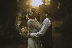 Kiss brides wedding sunrise