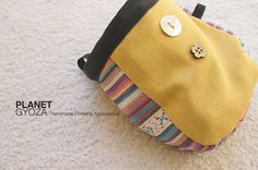 Chalk Bag - Striped Rainbow Cotton Woven fabric, royal yellow