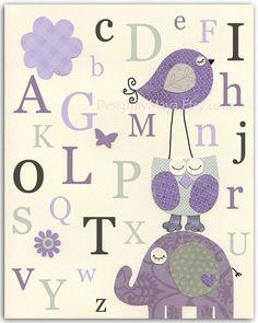 Baby girl room art Kids Room Decor Nursery wall by DesignByMaya, $17.00. purple, grey, owl, bird, elephant