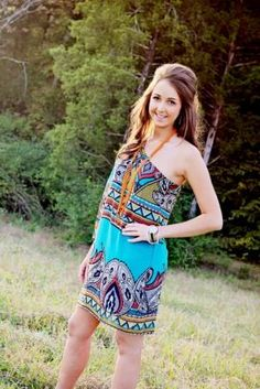 Beautiful one shoulder paisley dress; orange bead crystal necklace set and boyfriend watch.  Call to order 423-545-9786.