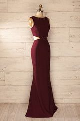 Vallata Wine - Burgundy waist cut-outs fitted gown
