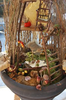 Best DIY Fairy Furniture - ideas and images Fairy Garden Houses, Gnome Garden, Garden Art, Garden Design, Fairy Furniture, Furniture Chairs, Miniature Furniture, Wooden Furniture, Furniture Ideas