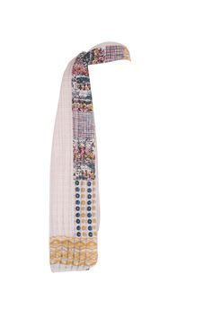 Off White Printed Textured Dupatta With Pikot Finish All On Side; 2.25 M In Length In 100% Cotton #Fashion #Style #Colors #Drapes #W for #Woman