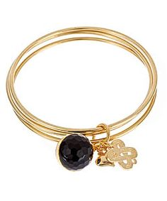 Janna Conner Gold Plate Onyx Colley Bangle Set - Love the onyx charm.