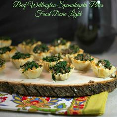 Two fantastic appetizers in one - Healthy, low calorie and fat Appetizers - Beef Wellington Spanakopita Bites www.fooddonelight.com
