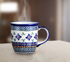 Classic mug. Unique decoration number DU60. Hand-painted using stamps.