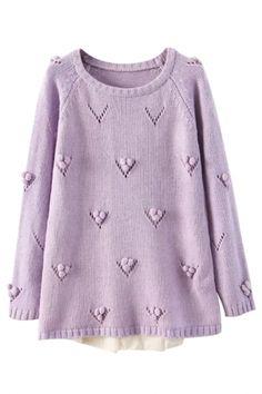 OASAP Eyelet Lace Paneled Sweater