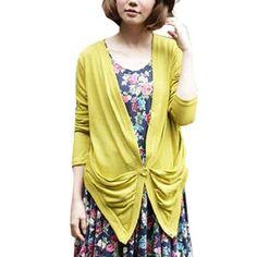 Allegra K Ladies V Neck Drap Collar Waist Above Decor Knitting Outwear Mustard XS Allegra K. $10.45
