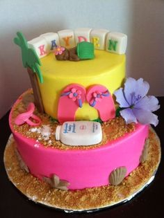 Luau / Tropical Baby Shower Cake LOVE THIS! Turquoise Or Orange Bottom  Though!