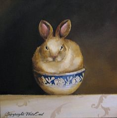 """""""THE BUNNY BOWL'. rabbit painting original ooak antique bowl and rabbit still life art by 4WitsEnd, via Etsy  SOLD"""
