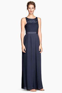 Vestido comprido plissado | H&M