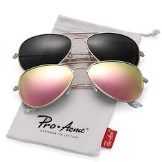 1792a5aa4a Pro Acme Classic Polarized Aviator Sunglasses for Men and Women UV400  Protection (2 Pairs)