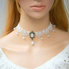 White Delicate Rose Lace Choker Necklace Victorian inspired