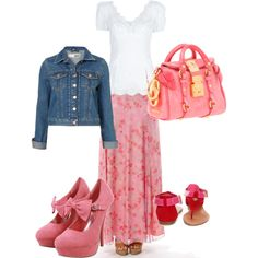 Pink Floral Skirt & Denim Jacket, created by wendy-sheets on Polyvore