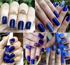 Unhas decoradas azul unha decorada com pedras, unha crescer, unhas decoradas para noivas, Michael Kors Bag, Nails, Beauty, Logo, Ideas, Bridal Nail Design, Nailed It, Nail Jewels, Fingernail Designs