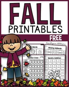 FREE Fall Math and Literacy printables! This is a small sample of pages directly from my monthly math and literacy packets.