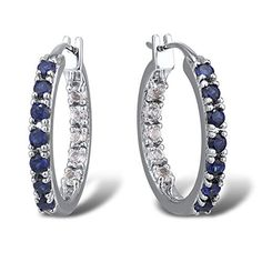 Blue and White Sapphire Inside Out Hoop Earrings In Sterling Silver