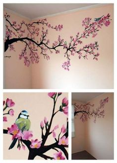 Bilder Wandmalerei: Frühlingsbaum Babyzimmer Mehr Get Your Dream Dining Room with the Right Furnitur Cherry Blossom Painting, Cherry Blossom Tree, Blossom Trees, Cherry Blossom Bedroom, Cherry Blossom Wallpaper, Cherry Tree, Spring Painting, Painting For Kids, Baby Painting