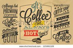 stock vector : Collection of Coffee shop Labels with retro vintage styled design.  Set of calligraphic and typographic elements, frames, vintage labels. Vector.