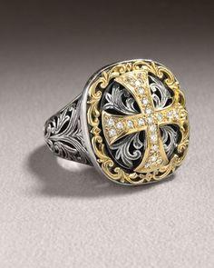 Diamond Cross Ring, Size: 8, silver - Konstantino