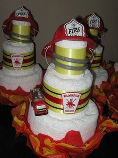Firefighter Towel Cakes (the perfect wedding shower gift) | Shared by LION